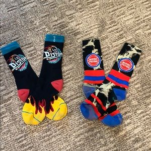 Two Pairs of Stance Detroit Pistons Socks